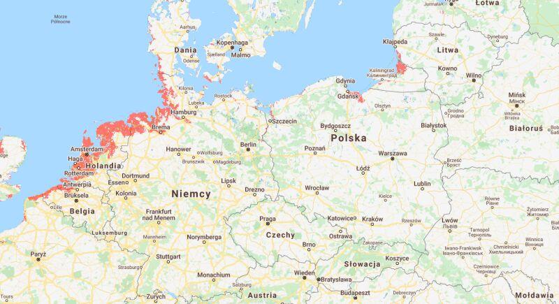 Miejsca w Europie, które mogą znaleźć się pod wodą do 2050 roku (coastal.climatecentral.org)