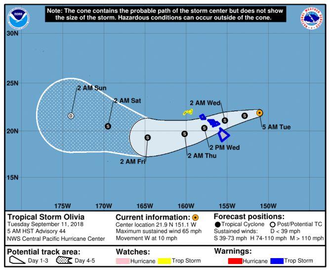 Prognozowana ścieżka przejścia burzy tropikalnej Olivia (NHC)