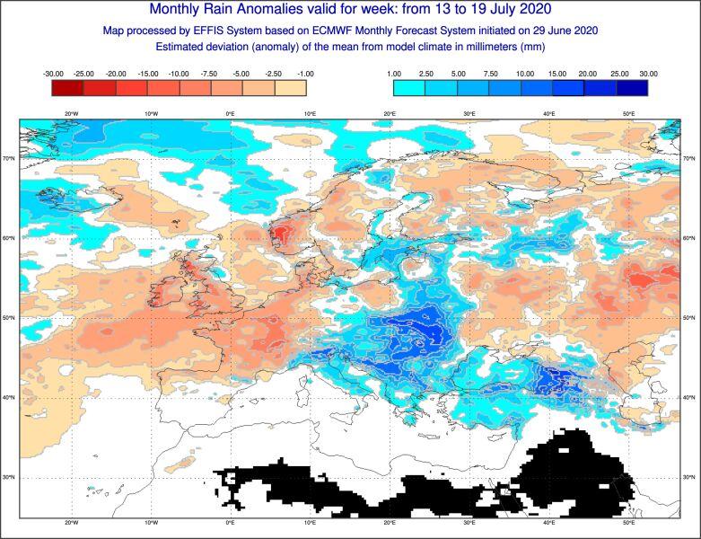 Prognoza mocnego odchylenia od normy opadów między 13 a 19 lipca 2020 (ECMWF)