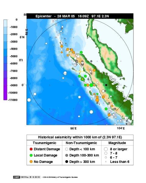 Mapa zasięgu zniszczeń po uderzeniu tsunami  w Sumatrę w 2005 roku (USGS)